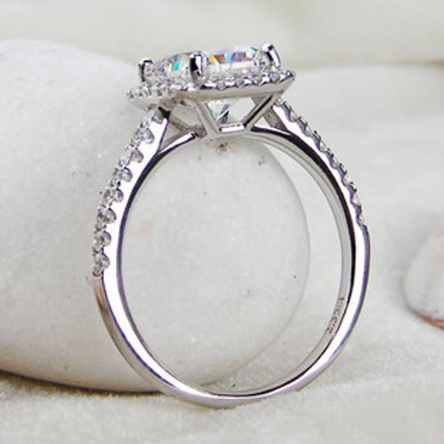 35 cttw 3ct Center Princess Radiant Cut NSCD Simulated Diamond