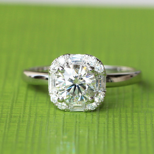 6mm = .80CT Charles & Colvard Moissanite Round Forever Brilliant Engagement Wedding Ring w/ Halo