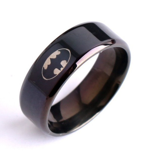 """Black PVD Stainless Steel """"Batman"""" Logo Band Style Ring 8mm"""