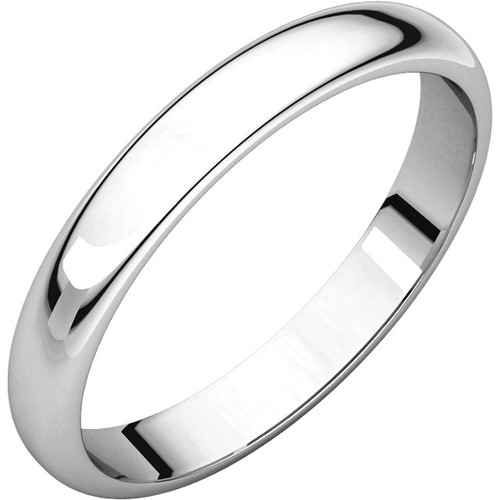 14K White Gold 3mm Plain Polished Half Round Wedding Band