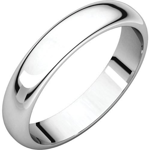 14K White Gold 4mm Plain Polished Half Round Wedding Band
