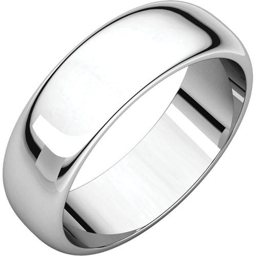 14K White Gold 6mm Plain Polished Half Round Wedding Band