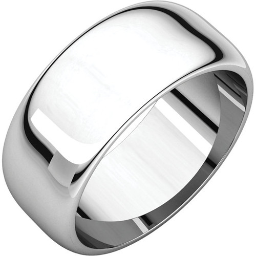 14K White Gold 8mm Plain Polished Half Round Wedding Band