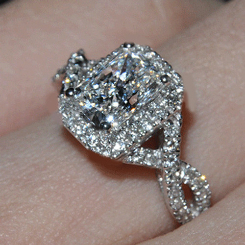 2.5CTTW 2CT Center Cushion Cut NSCD Simulated Diamond Halo Crossover Engagement Wedding Ring - CLOSEOUT SALE