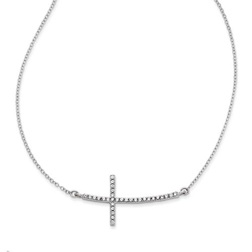 "Sterling Silver .925 Sideways Cross CZ Necklace 18"" WOW"