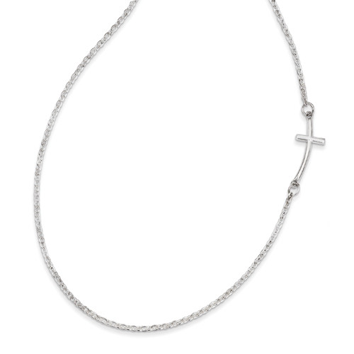 """Sterling Silver .925 Sideways Cross Necklace 18"""" Beautiful"""