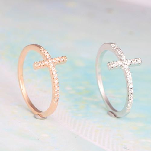 Sideways Cross Swarovski Crystal Ladies Ring