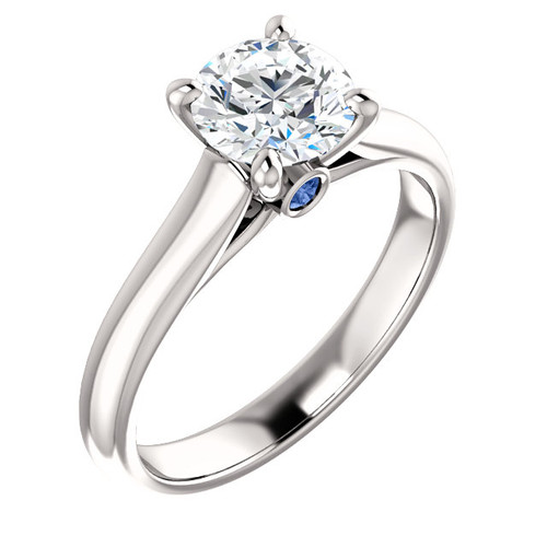 14K White 1CT Center Round Cut NSCD Simulated Diamond Wedding Solitaire Engagement Ring w/ Sapphire Sides - MADE TO ORDER