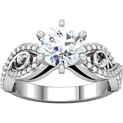 14K White Gold 2CT Center Round Brilliant Cut NSCD Simulated Diamond & Genuine Diamond Cross Over Scroll Sides Wedding Solitaire Engagement Ring - MADE TO ORDER