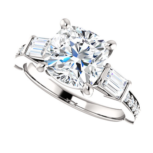 2.40CT Cushion Cut Eternal Moissanite & Diamond Wedding Engagement Ring