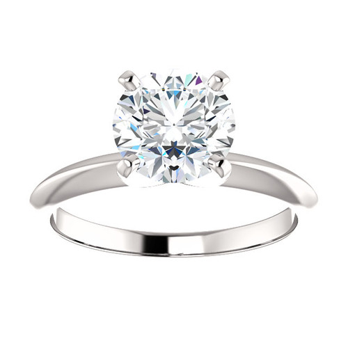 1.5CT = 7.5mm Forever One Moissanite Round Brilliant Cut Solitaire 14K White Gold