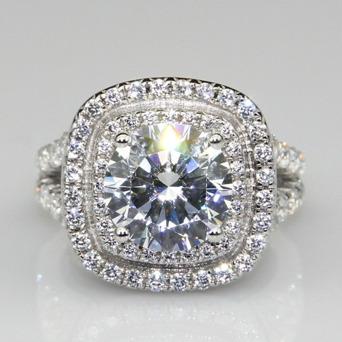 14K White Gold 4.15CTTW 3CT Center NSCD Simulated Diamond Round Brilliant Cut Halo Engagement Ring