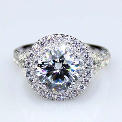 14K White Gold 2.85CTTW 2CT Center NSCD Simulated Diamond Round Brilliant Cut Halo Engagement Ring