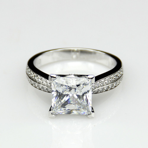 14K White Gold 2.65CTTW 2CT Center NSCD Simulated Diamond Princess Cut Engagement Ring