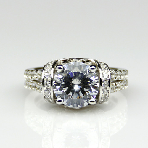14K White Gold 1.85CTTW 1CT Center NSCD Simulated Diamond Round Brilliant Cut Engagement Ring
