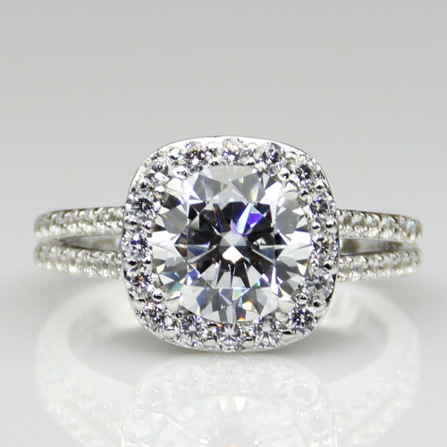 14K White Gold 2.75CTTW 2CT Center NSCD Simulated Diamond Round Brilliant Cut Halo Engagement Ring