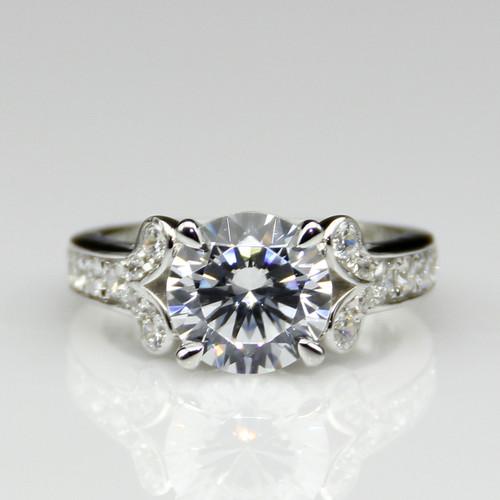 14K White Gold 2.55CTW 2CT Center NSCD Simulated Round Brilliant Diamond  Wedding Engagement Ring