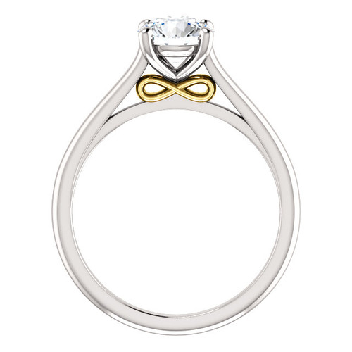 1CT = 6.5mm Forever One Moissanite Round Brilliant Cut Solitaire 14K White Gold - Infinity Under Bezel