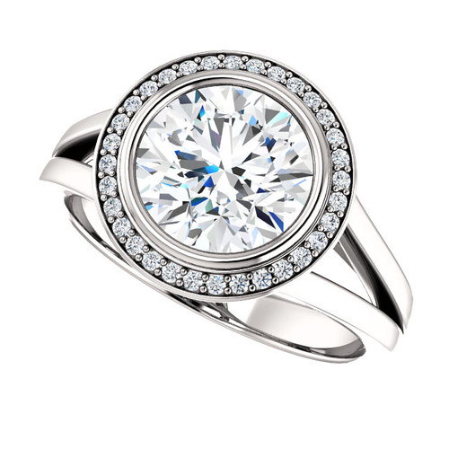 14K White Gold 2.50CTW 2CT Center NSCD Simulated Diamond Round Brilliant Halo Wedding Engagement Ring - Genuine Diamond Halo