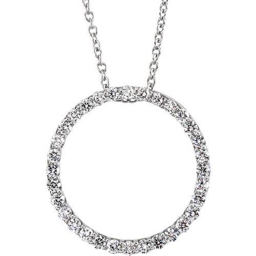 Platinum 1/2CTTW Diamond Circle Pendant Necklace - BRILLIANT