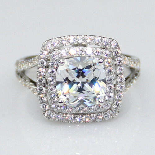 14K White Gold 4CTTW 3CT Center Cushion Cut NSCD Simulated Diamond Halo Engagement Wedding Ring!
