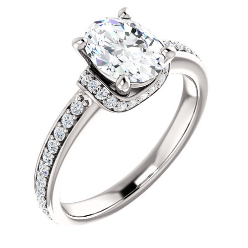 The Jessup Ring Series - NEO Moissanite 1.50CT Oval Cut Engagement Ring With Diamond Accents