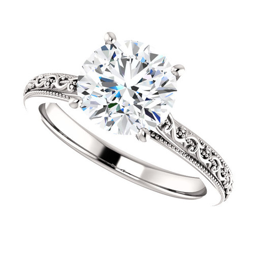 The Maven Ring Series - NEO Moissanite Round Cut Scroll Engagement Ring - Wedding Band Included