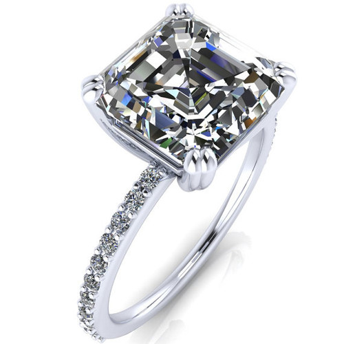 The Beverly 1.30CT = 6.5mm Forever One Asscher Cut Moissanite & Diamond Solitaire Engagement Ring