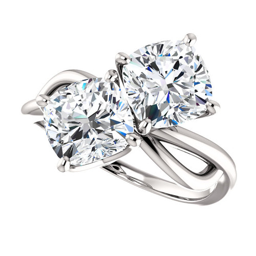 Two Stone NEO Moissanite 3.40 CTW Cushion Cut Engagement Anniversary Ring