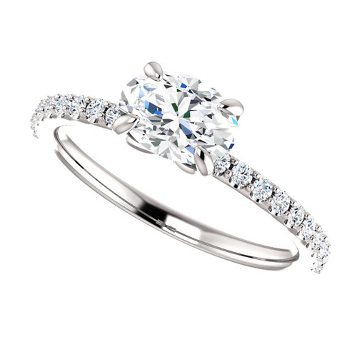 The Annabelle Ring Series - NEO Moissanite .90CT Oval Cut East West Engagement Ring w/ Diamond Accents