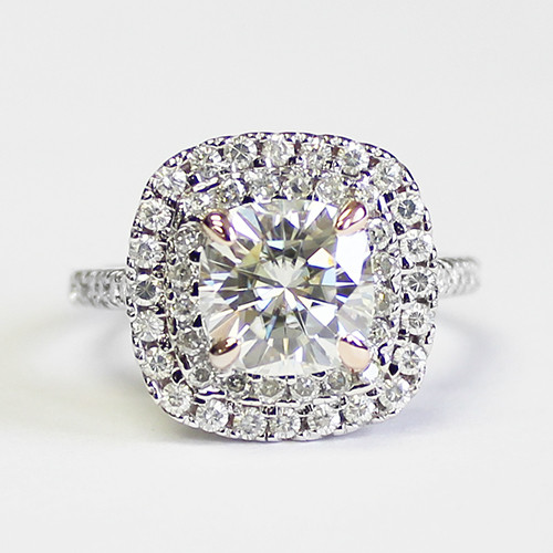 The Joan 2.40CT = 8mm Forever One Cushion Cut Moissanite Double Halo Engagement Ring!