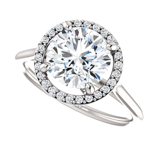 The Lopez Ring Series - NEO Moissanite Round Brilliant Cut 2CT & Diamond Halo Engagement Ring