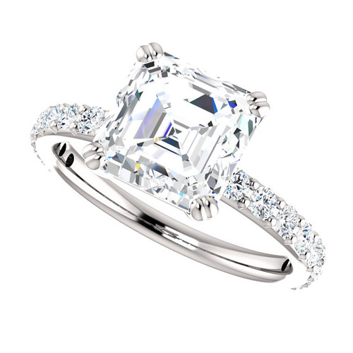 The Beverly 2 Forever One Moissanite 2.20CT Asscher Cut Solitaire Engagement Ring