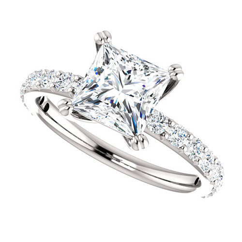 The Beverly 2 Forever One Moissanite 1.75CT = 6.5mm Princess Cut Solitaire Engagement Ring