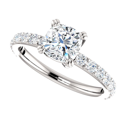 The Beverly 2 Forever One Moissanite 1.05CT Cushion Cut Solitaire Engagement Ring