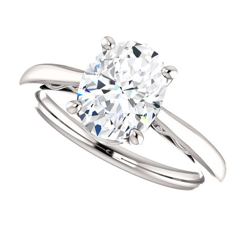 Forever One Moissanite 2.26CT Oval Cut Solitaire Scroll Engagement Ring