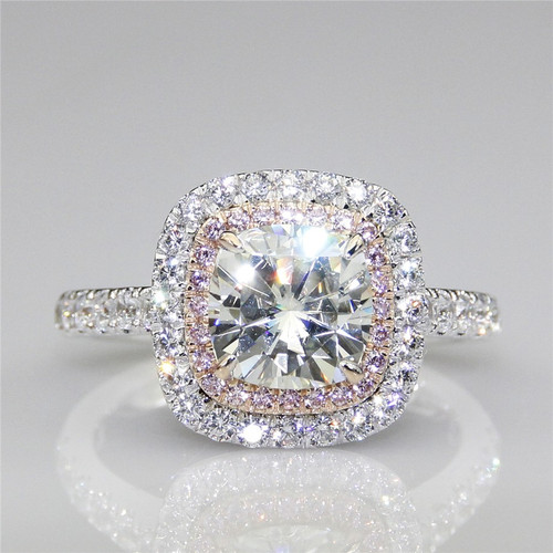 The Tina Ring -3CT Center Cushion Cut NSCD Simulated Diamond w/ Created Pink Sapphire Halo Engagement Ring