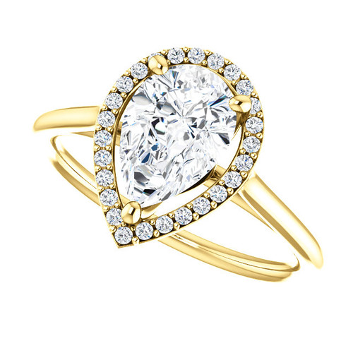The Lopez Ring Series -  NEO Moissanite Pear Cut 1.50CT & Diamond Halo Engagement Ring