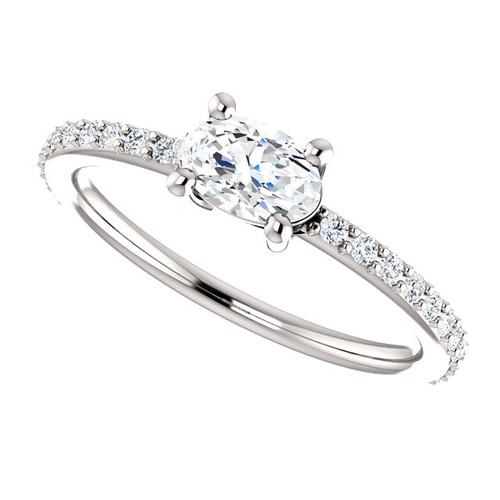 The Charlotte Ring NEO Moissanite .50CT Center Oval Cut East West Engagement Wedding Ring with Diamond Accents