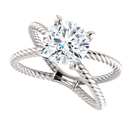 """The Jen Ring Series - NEO Moissanite 2CT Center Round """"Diamond Cut"""" - SEE VIDEO BELOW"""