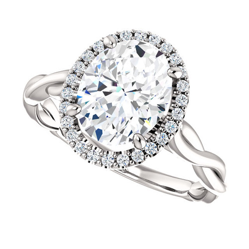 The Ivey Ring Series - Eternal® Moissanite 2.10CT Oval Cut Center & Diamond Halo Crossover Engagement Ring