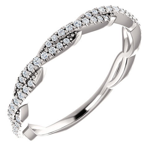 14K White Gold Cross Over Pave Diamond Wedding Anniversary Band - Stackable
