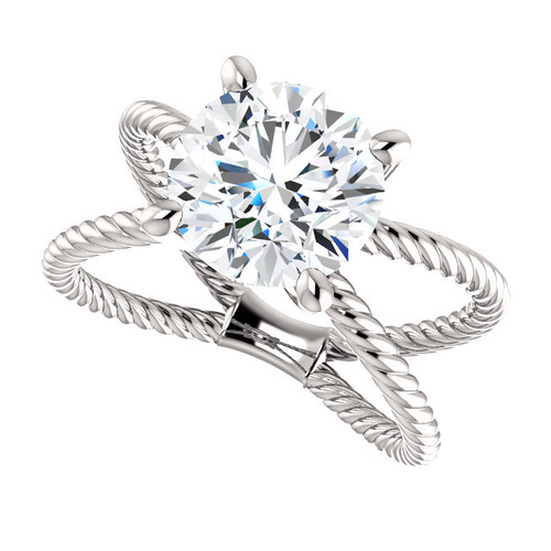 """The Jen Ring Series - NEO Moissanite 3CT Center Round """"Diamond Cut"""" - SEE VIDEO BELOW"""