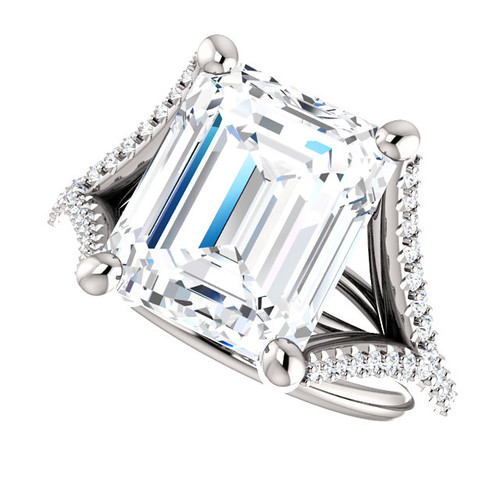 The Bethany Ring Series - Eternal Moissanite  4.70CT Emerald Cut & Diamond Split Shank Engagement Ring - VIDEO BELOW