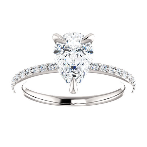 The Charlene 1.50CT NEO Moissanite GH Color Pear Cut & Diamond Solitaire Engagement Ring  - CUSTOM MADE