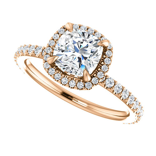 The Eloise Series - NEO Moissanite 1.30CT Cushion Cut & Diamond Halo Engagement Ring