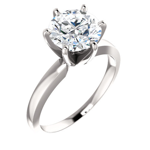 "6 Prong Tiffany Style Solitaire - NEO Moissanite Round ""DIAMOND CUT""  - THE BEST PRICE ON THE NET!"
