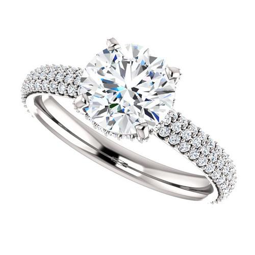 "The Katie Ring Series - NEO Moissanite 1.50CT Round ""Diamond Cut"" & Diamond Pave  Engagement Ring"