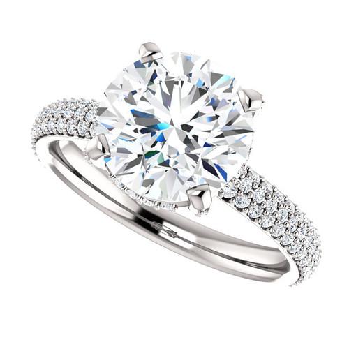 "The Katie Ring Series - NEO Moissanite 3CT Round ""Diamond Cut"" & Diamond Pave  Engagement Ring"