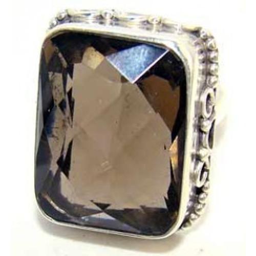 .925 Sterling Silver Rectangular Smokey Quartz Ring